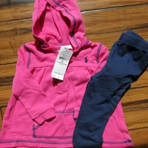 Ralph Lauren Baby 6mo Pink hood top w/ leggings